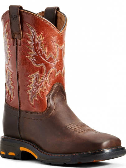 77fcedeadeb Ariat Boys Work Workhog Wide Square Toe Dark Earth Brick Boots 10007837