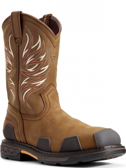 2b9de1ab34a Ariat Mens Western Work Overdrive™ Wide Square Toe Composite Toe Alamo  Brown Boot 10011933
