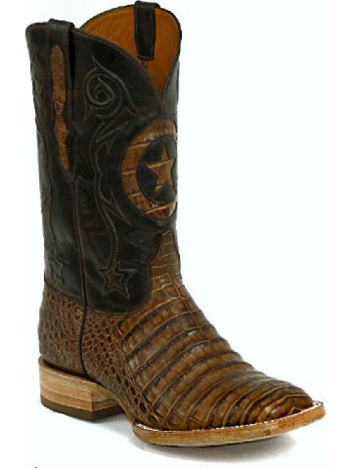 Bootamerica Black Jack Boots Lone Star Inlay Caiman Belly Burnished Brown 250
