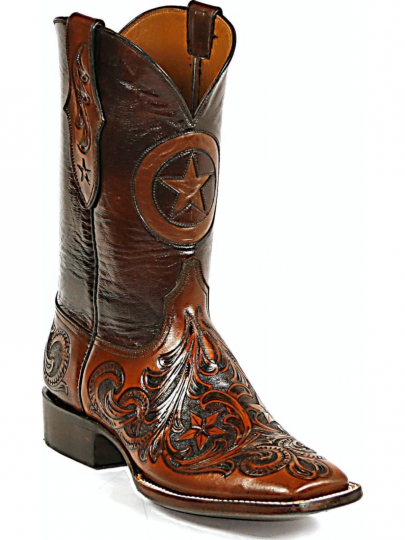 203ead6a2aa Black Jack Boots Lone Star Inlay Hand Tooled Stars Dark Brown Cowboy Boots  HT-118