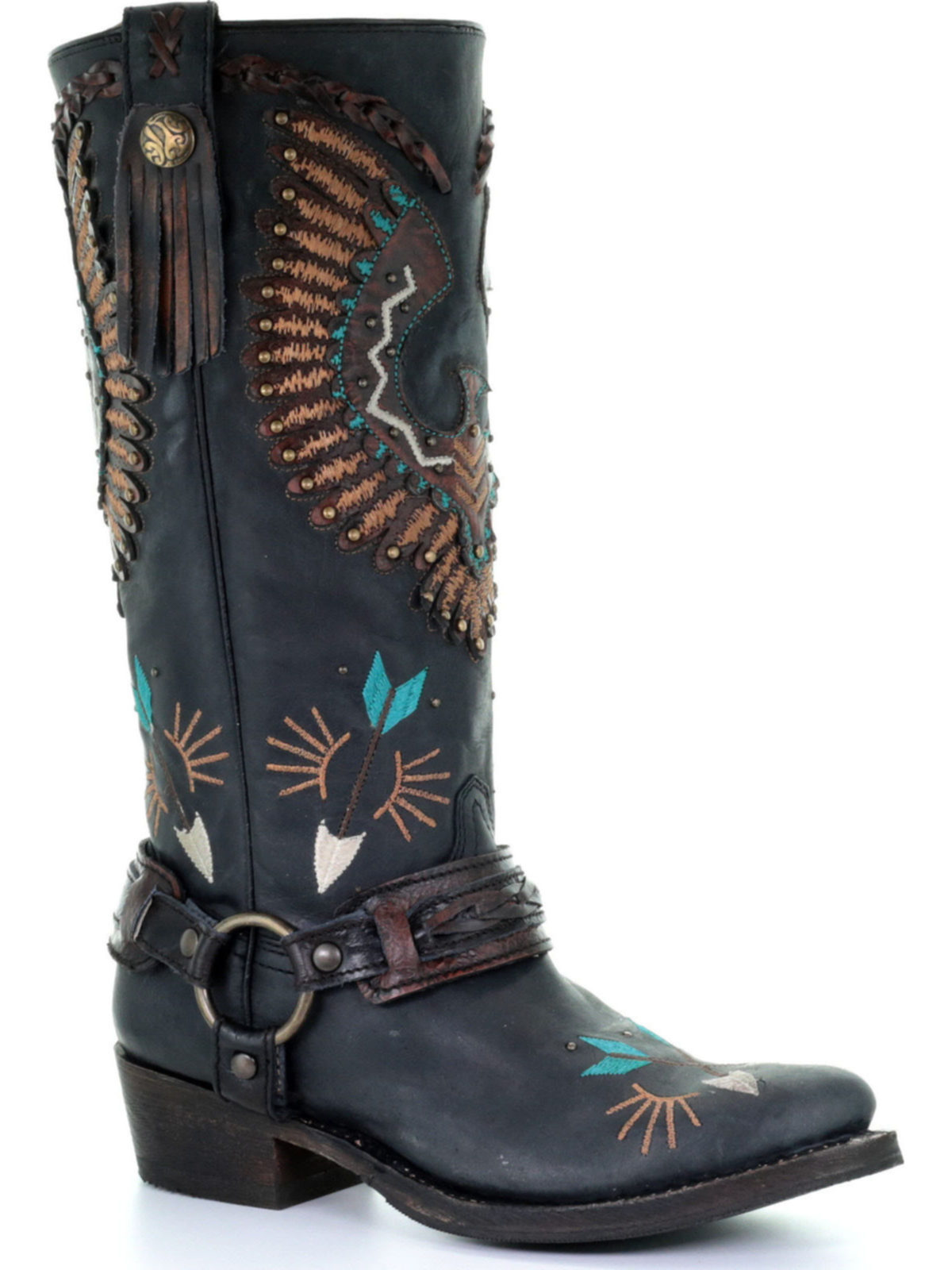 Bootamerica Corral Womens Black Eagle Overlay And