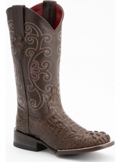 712dd47f480 Ferrini Womens Print Caiman Sport Rust-Chocolate Boots 90393-23