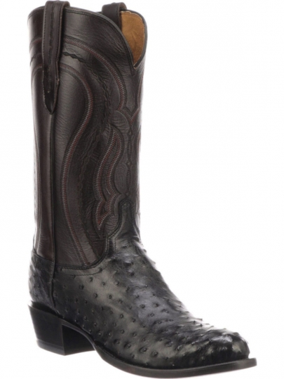 be375ef2195 Lucchese Mens Montana 1883 Black Full Quill Ostrich-Cordovan Derby Calf  M1608-R4