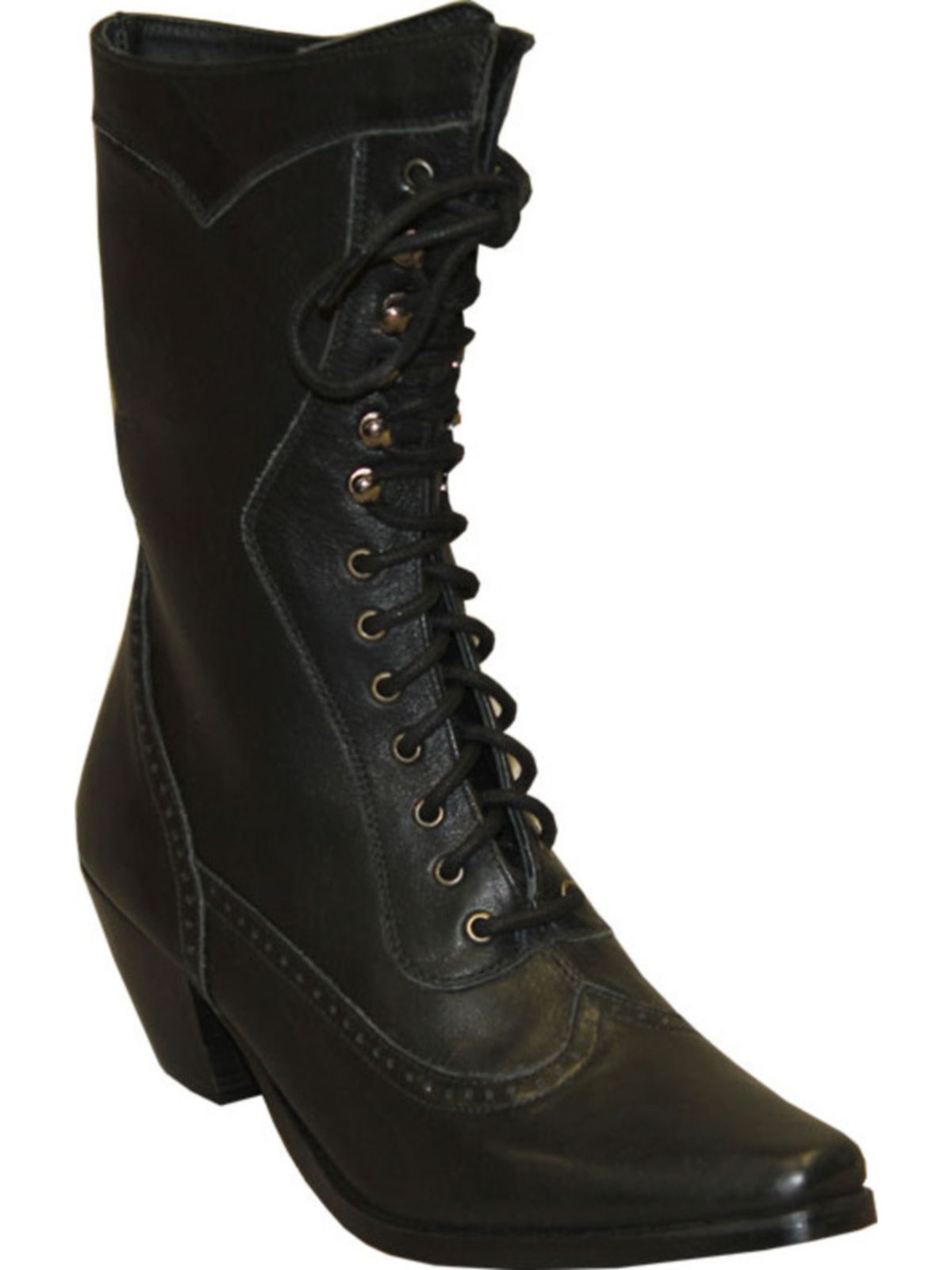 Bootamerica Rawhide Womens Black Victorian Lace Up Boot 5010